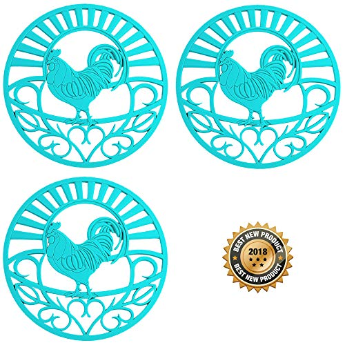 Silicone Trivet Set for Hot Dishes, Pots & Pans. These Kitchen Hot Pads 'Country Rooster' Design (Symbol of Prosperity & Good Luck) Mimics Cast Iron Trivets (7.5 inch Round, Set of 3, Teal)