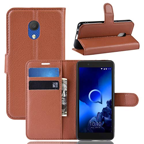 GUODONG Funda para teléfono móvil Litchi textura horizontal con tapa para Alcatel 1C 2019, con soporte y ranuras para tarjetas y billetera, color negro