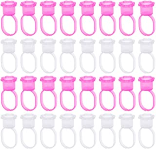 PIXNOR Wegwerp Lijm Rings 100 Stuks Wimper Extension Lijm Ring Tattoo Ringen Cups Lastic Tattoo Inkt Pigment Ring
