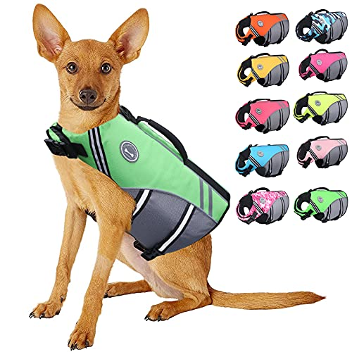 Vivaglory New Sports Style Ripstop Dog Life Vest with Superior Buoyancy & Rescue Handle, Bright Green, L