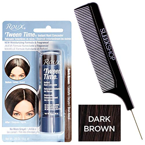 Roux TWEEN TIME Instant ROOT CONCEALER Hair Crayon, No More Grays (w/Sleek Steel Pin Tail Comb) Blend Grey, Hair Color Dye 0.28 oz / 8g, NEW Moisturizing Formula & Fragrance (Dark Brown)