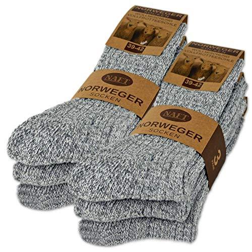 6 Paar Norweger Socken mit Wolle Damen & Herren Wintersocken (Grau 43-46)