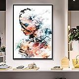 XCSMWJA Cuadro sobre Lienzo Abstracto Moderno Graffiti Arte Pared Imágenes Mujer Retrato Y Nube Pintura Al Óleo En Lienzo Graffiti Calle para La Decoración De La Sala De Estar 60x90cm