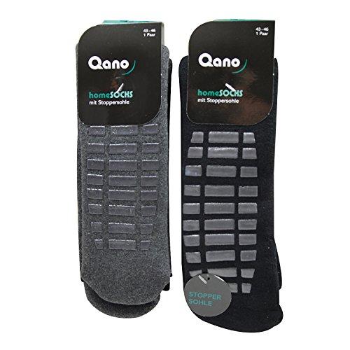 Qano home 2er Pack Herren ABS Stopper Socken schwarz/graue Stopper oder grau/graue Stopper (43-46, grau/schwarz)