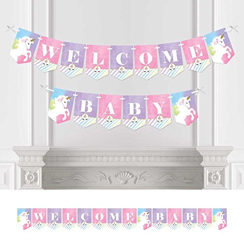 Big Dot of Happiness Rainbow Unicorn - Baby Shower Bunting Banner - Magical Unicorn Party Decorations - Welcome Baby