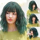 HAIRCUBE Pelucas cortas onduladas naturales con flequillo de pelo Peluca verde ombre hasta los hombros para mujer Peluca sintética natural para fiesta Peluca de cosplay para mujer