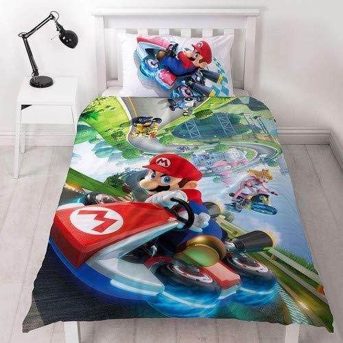 Super Mario Nintendo Kart - Funda de edredón para Cama Individual, Reversible, diseño de Gravedad de Dos Caras con Funda de Almohada a Juego