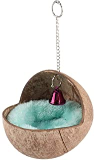 HEEPDD Bird Nest, Hanging Natural Coconut Shell Birds House Hut Breeding Nesting Bird Aviary Cage Box Anti-Pecking Bite with Warm Pad and Bell for Parakeet Budgie Cockatiel Finch Sparrows