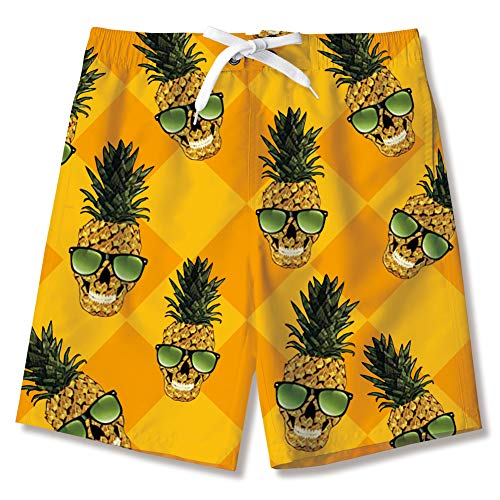 AIDEAONE Kinder Jungen Badehose mit Mesh-Futter Schnell Trocknend Ananas Drucken Shorts Strandhose