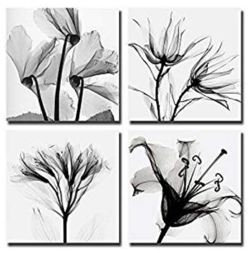 Mon Art Abstract Flower Wall Art Canvas Print Set of 4 Contemporary Simple Life