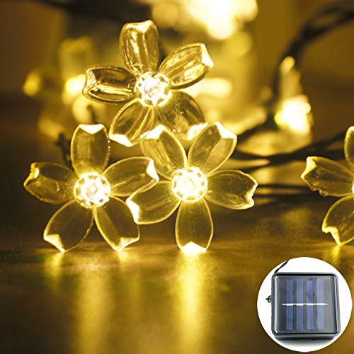 Mankinlu Solar Outdoor Cherry Blossom Strings Lights, 23 Feet 50 LEDs Solar Fairy Flower Lights Waterproof,Christmas Tree Lights,for Home, Lawn, Wedding, Patio,Party and Holiday Decorations Warm White