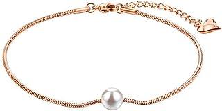 CXQ Fashion Temperament Jewelry Artificial Pearl Snake Bone Rose Gold Feet Ladies Chain Foot Ring Jewelry Foot Chain Jewelry Gift