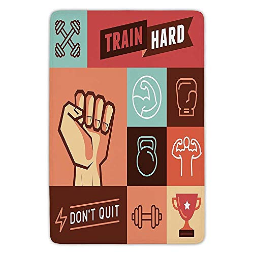Bathroom Bath Rug Kitchen Floor Mat Carpet,Fitness,Gym Crossfit Trainings Achievement Victory Strength Determination Dont Quit Phrase Decorative,Multicolor,Flannel Microfiber Non-slip Soft Absorbent