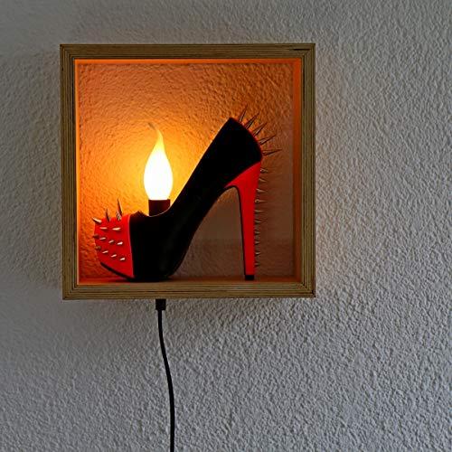 Sexy High Heels Lampe, LED Wandlampe aus echten Plateau High Heel, Schuhlampe aus Stilettos, Pumps, Boho Lampe