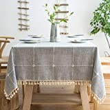 Lipo Rustic Tablecloth Embroidery Fabric with Tassel - Waterproof Tablecloths for Rectangle Tables Wrinkle Free Oil Stain Resistant Outdoor Table Cover for Party Dining Plaid Table Cloths Grey 55 X 86