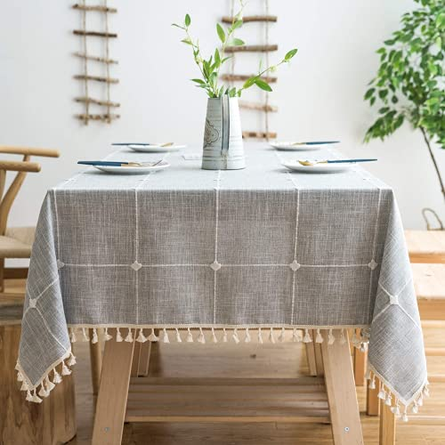 Lipo Waterproof Tablecloth Embroidery Burlap Linen with Tassel - Anti-Fading Heavy Duty Fabric Wrinkle Free Rectangle Table Cloth for Tables Rustic Tablecloths Outdoor for Party Kitchen 55x102 Grey