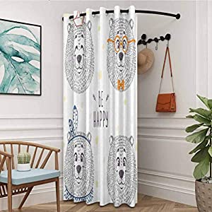 flymeeo Cartoon Energy Saving Curtain Thermal Insulated Room Curtains Kids Boys Girls Room Bear in Styles with Sketchy Hand Drawn Image Art Dark Blue and White