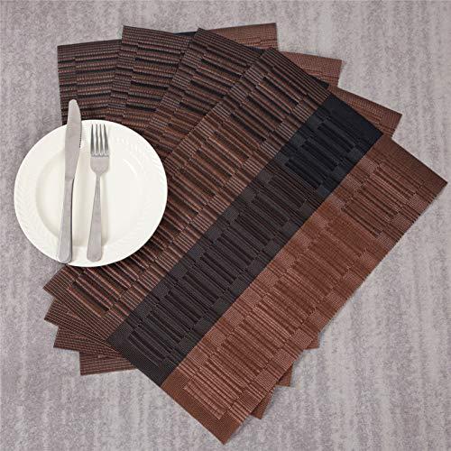 Topfinelランチョンマットおしゃれ北欧木目撥水防汚断熱滑り止めお手入れ簡単PVC家庭レストラン用ブラウン&ブラック×6枚