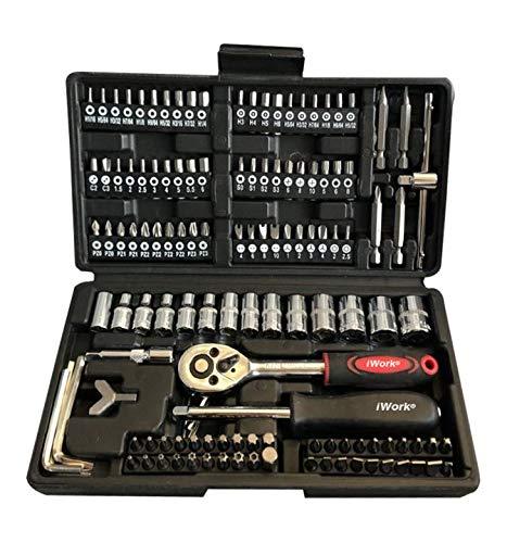 iWork Maletín con juego de llaves de vaso y puntas de destornillador (130 piezas)