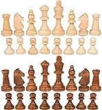PhiGie 32 piezas de ajedrez internacional de madera sin tablero para el reemplazo de piezas perdidas de 3.5 pulgadas figuras de ajedrez (3.5 pulgadas)