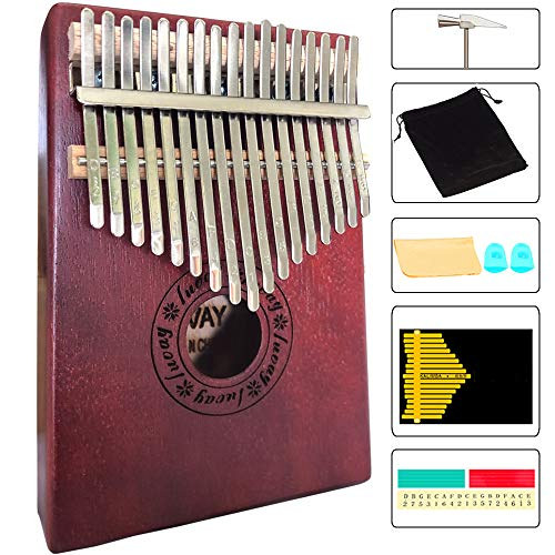 Luvay Kalimba 17 key Thumb Piano, Solid Mahogany Body (Dark Color)