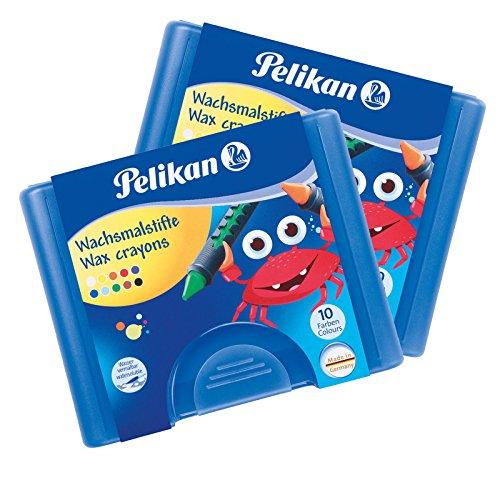 Pelikan 722942 - Wachsmalstifte 665/8d dreieckig, wasserfest (8er Etui | 2 Stück, Blau)