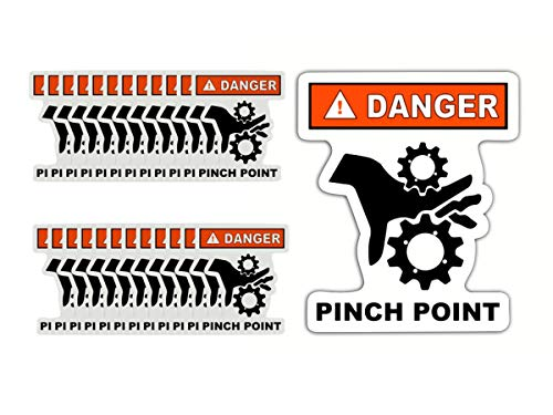 (25 Pack) Pinch Point Industrial Safety Stickers - Caution Pinch Point Graphic - Black and White with Red Danger and White Outline - Die Cut Safety Decal