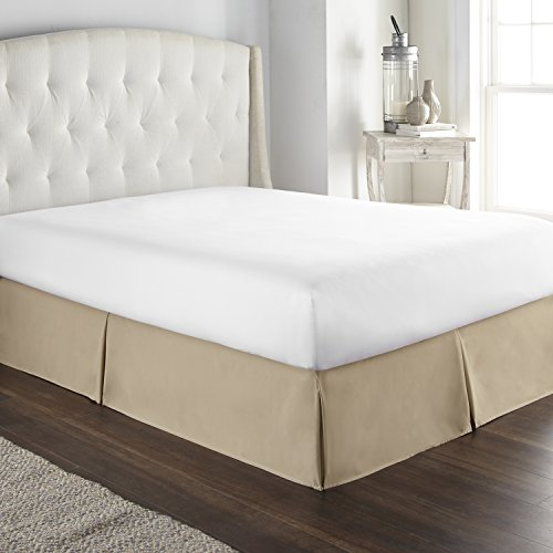 Hotel Luxury Bed Skirt Dust Ruffle 1800 Platinum Collection 14 inch Tailored Drop, Wrinkle & Fade Resistant (Queen, Taupe)