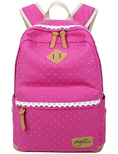 Fashion Mädchen Schulrucksack Damen Canvas Rucksack Teenager Baumwollstoff Schultasche Outdoor Freizeit Daypacks mit Schicker Lace (Rosa)