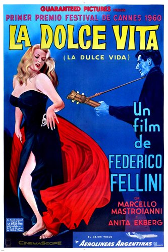 la DOLCE VITA movie poster Trevi Fountain Marcello Mastroianni Federico Fellini ANITA EKBERG (reproduction, not an original)