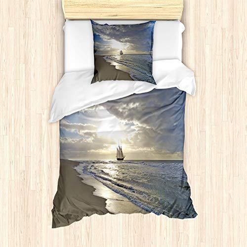 ABAKUHAUS Náutico Funda Nórdica, Vela Sunset Shipt, Decorativo, 2 Piezas con 1 Funda de Almohada, 135 x 200 cm, Azul Blanco Amarillento