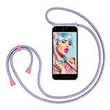 """ZhinkArts Collana Porta Cellulare Compatibile con Apple iPhone 7 Plus / 8 Plus - Display 5,5"""" - Custodia da Collo per Smartphone, Nastro - Cover con Cordoncino da Indossare - Bubble Gum"""