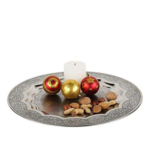 albena shop 73-109 orientalisches Tablett Kerzenteller Silber (ø 40,5 cm, Modell: Leela)