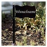 Bütic GmbH Acrylglas Pflanzschilder Fahne schwarz - Auswahl + Wunschname - Gartenstecker, Kräuterschilder, Pflanzenstecker, Pflanzenname:Erdbeeren