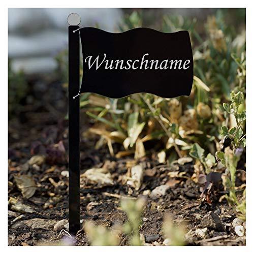 Bütic GmbH Acrylglas Pflanzschilder Fahne schwarz - Auswahl + Wunschname - Gartenstecker, Kräuterschilder, Pflanzenstecker, Pflanzenname:Bärlauch