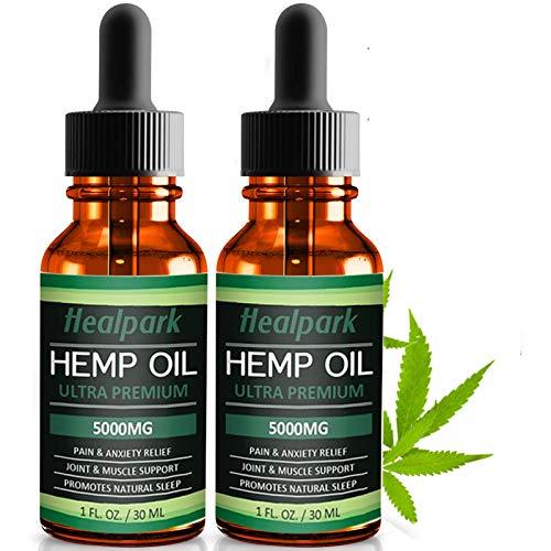 (2 Pack) Hemp Oil 5000mg for Pain Relief Anxiety - 100% Natural Organic Hemp Seed Extract, Rich Omega 3,6,9- Zero THC CBD Cannabidiol - Pure Hemp Oil Drops