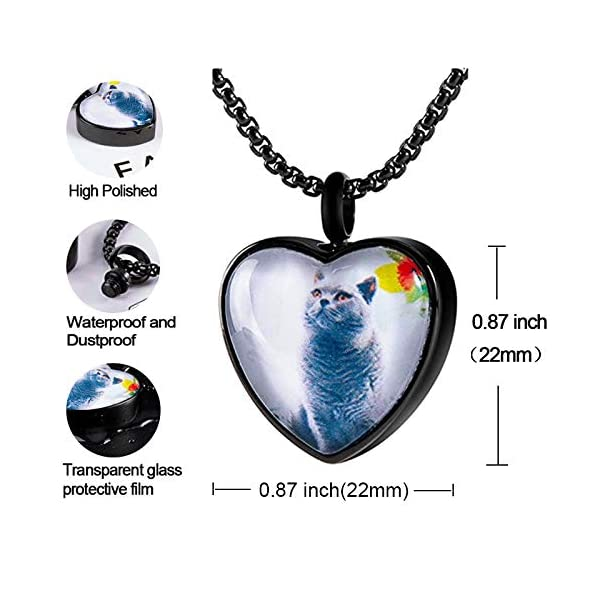 Fanery sue Personalized Photo Cremation Urn Necklace for Ashes Custom Engraving Pendant Memorial Keepsake Jewelry with Filling Tool(Heart-Black)