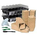 Basage Kit de Inicio de Semillas con 120 Macetas de Turba, Bandeja de Inicio de Semillas, Bandeja de Crecimiento de PláStico para JardíN de Hierbas Al Aire Libre o Interior