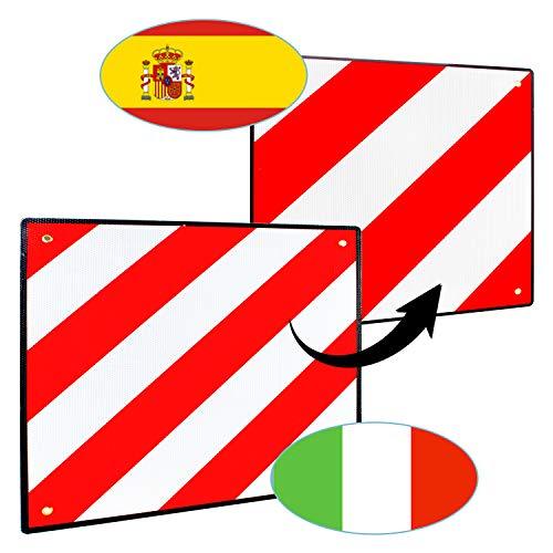 VINGO Premium Warntafel, 2in1 50x50cm Aluminium Warntafel für Italien und Spanien, Reflektierend rot-weiß Warnschild für Heckanhänger, Wohnwagen, Anhänger, Fahrradträger