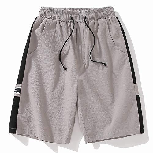 Pantalones Cortos Deportivos Casuales para Hombres, Verano, Estilo de Hong Kong, algodón, Lino, Pantalones de Cinco Piezas, Pantalones de Playa para Adolescentes, Tela Resistente, Gris XXXL