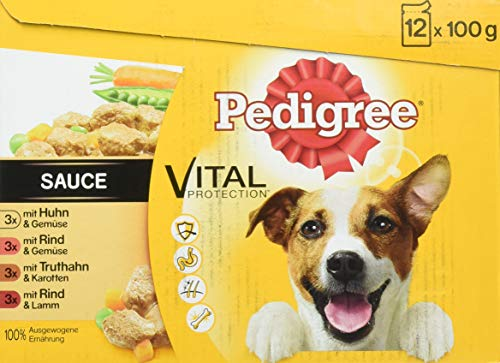 Pedigree Hundefutter Nassfutter Adult in Sauce, 12 Portionsbeutel (12 x 100g)