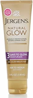 Jergens Natural Glow 3 Days to Glow Moisturizer, Fair to Medium 4 oz (Pack of 3)