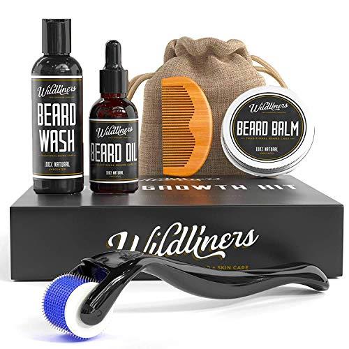 Beard Growth Kit, with Beard Growth Oil / Serum, Beard Wash, Beard Balm, Wood Beard Comb and Beard Roller for Hair Growth. Growing and Grooming Beard Growth For Men