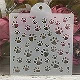 Plantillas para pintar,1 pieza de 16 pulgadas,diseño de pata de perro y gato,DIY capas de pintura de pared,álbum de recortes para colorear en relieve,plantilla de tarjeta decorativa