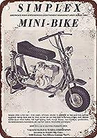 Simplex Mini-Bike 金属板ブリキ看板警告サイン注意サイン表示パネル情報サイン金属安全サイン