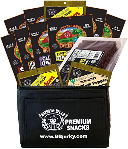 Buffalo Bills 12-Piece Hot and Spicy Lovers Beef Jerky & Beef Stick 6-Pack Gift Cooler