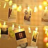 GoodGoodday Clip, Blanco Foto Clips Cadena, Adorno Guirnalda LED Luces Decorativas Pinzas Luminosas Crear un Ambiente Calido adecuado para Navidad, Fiesta, Bodas, San Valentín, 2,0 m