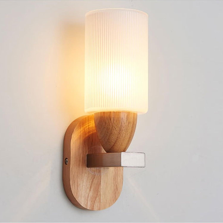 CL&Halterung Licht Nordic einfache Massivholz LED Lampe Schlafzimmer Wohnzimmer kreative Persnlichkeit Wandleuchte SY (Farbe   5W-Warmes Licht)