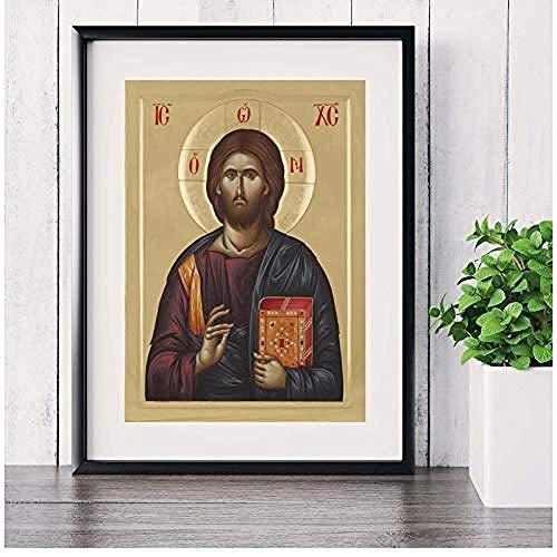 Canvas print,Jezus Christus schijnt portret Canvaskunst schilderij Poster muur foto's voor kamer decoratieve Home Decor foto-40x50cm