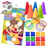UNGLINGA Carnival Toss Games Kids Party Rings Bean Bag Tossing Cones Circus Game Obstacle Course Set for...
